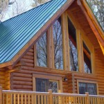 Log home stained with Timberflex